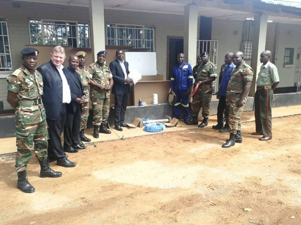 Presentation of a Solar Waterbox at Zambia Army HQ Engineers Brigade